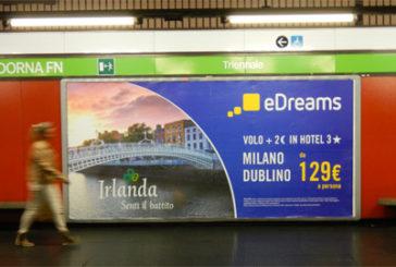 Pubblicità nella metro milanese di eDreams e Turismo Irlandese