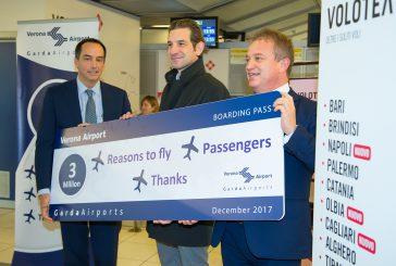 L'aeroporto di Verona raggiunge il traguardo di 3milioni di pax