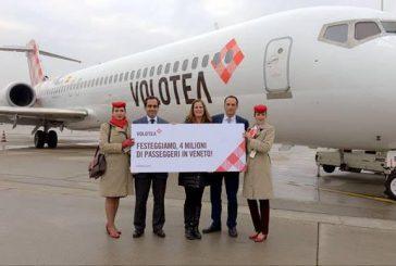 Raggiunto il record di 4 miln di pax per Volotea in Veneto