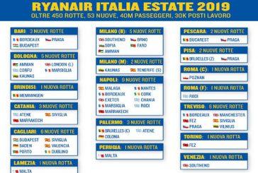 Ryanair lancia 53 nuove rotte in Italia per la Summer 2019