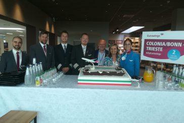 Inaugurata a Trieste la nuova tratta per Colonia sulle ali di Eurowings